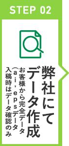 STEP 02 弊社にてデータ作成 お客様から完全データ(ai,epsデータ入稿時はデータ確認のみ